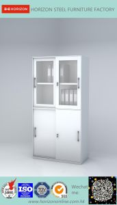Steel Filing Cabinet with Upper and Lower Steel Framed Sliding Glass Doors