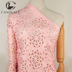 Candlace Peach Beaded Stone French Laser Cut Lace for Aso Ebi pictures & photos