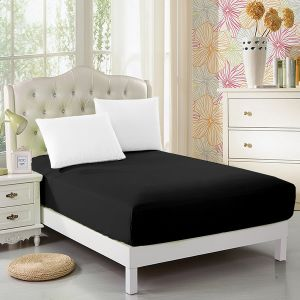 Single Black Fitted Bed Sheets with High Quality Microfiber (DPF10356) pictures & photos