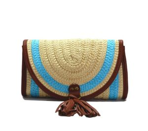 Luda Mixed Colors Stripes Paper Straw Clutch Bag