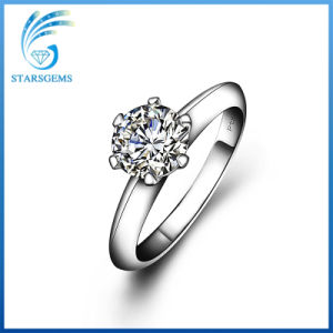 Simple Style Six Prongs Classic Solitare Moissanite Diamond Silver Ring