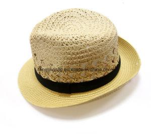 5a0e01e2d6c0c China High Quality Paper Straw Fedora Hat Summer Beach Sun Hat ...