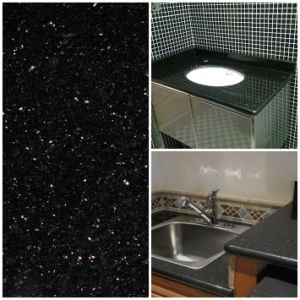 China Black Galaxy Granite Double Sink Vanity Tops Kitchen ...