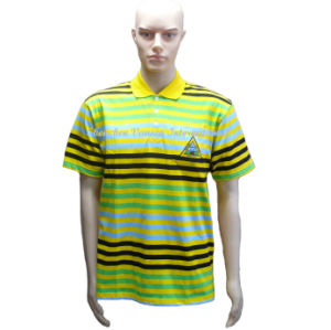 Men′s Striped Embroidery T-Shirt with Polo Neck pictures & photos