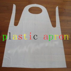 Plastic Disposable HDPE White PE Apron with 8.5g