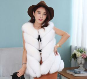 Hot Sale Natural Silver Fox Fur Vest Women with Fox Head