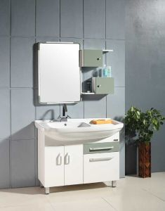China New Model Fashion PVC Coated Bathroom Vanity Cabinet pictures & photos
