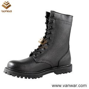 Full Leather Unisex Military Combat Boots of Black (WCB031)
