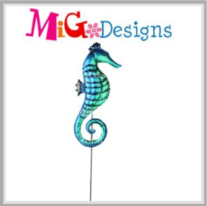 New Developed Blue Sea Horse Beautiful Metal Garden Stake pictures & photos