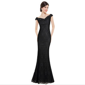 D1185 Sexy V-Neck Beaded Long Lace Formal Evening Gown pictures & photos