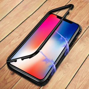 premium selection aab1f a9b3e Tempered Glass Metal Frame Magnet Mobile Phone Cover for iPhone X