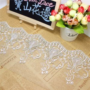 Factory Stock Wholesale 17.5cm Width Embroidery Bi-Color Gold Thread Polyester Net Lace Polyester Embroidery Trimming Fancy Mesh Lace for Garments Accessory