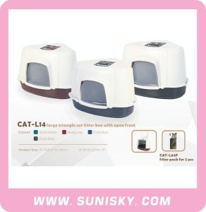 Large Triangle Cat Litter Box with Open Front pictures & photos