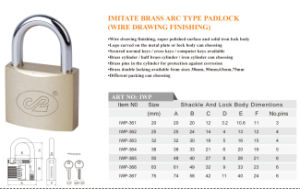 Imitate Brass Arc Type Padlock Wire Drawing Finishing pictures & photos