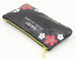 Customized PU Toilet Cosmetic Ladies Bag with Flower Printing pictures & photos