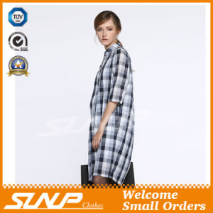 Women′s Cotton Plaid Half Sleeve Flannel Apparel