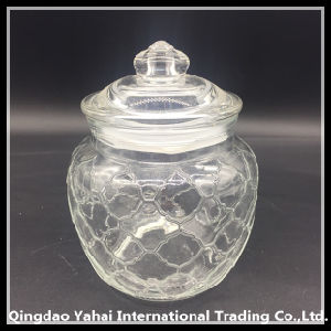 Decorate Glass Cookie Jar with Glass Lid