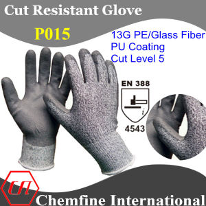 13G PE/Glass Fiber Knitted Glove with PU Coated Palm/ En388: 4343 pictures & photos