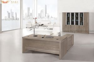 Modern Silver Pine Wood Panel Luxury Executive Desk for Office Furniture pictures & photos