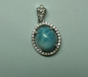 Natural Larimar Sterling Silver Fashion Jewelry Pendant (P0260)
