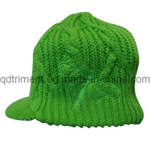 Acrylic Roll up Crochet Knitted Brimmed Warm Cabbie Beanie (TRK040) pictures & photos