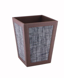 PU Leather Room Wastebasket, Trash Bin, Bathroom Waste Bin (PB043)