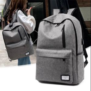 Gray Casual Canvas Waterproof Backpack Women School Bag for Girls USB