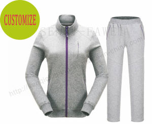 Lady Outwear Sport Tracksuits Clothes with Contrast Zipper Fw-8811