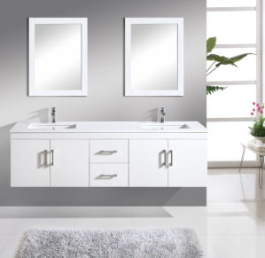 72 Inch Dual Undercounter Sink Wall Mounted Cabinet with Double Bath Mirror
