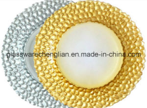 Hot Sale Gold or Sliver Beaded Glass Charger Plates (P-005) pictures & photos