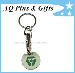 Shopping Metal Trolly Coin Keychain pictures & photos