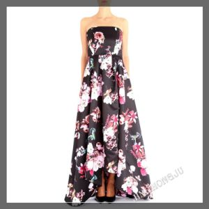 Ladies, Full Lenght, Charmuse Woven, Hi Low Evening Party Dress with Floral Printing Design