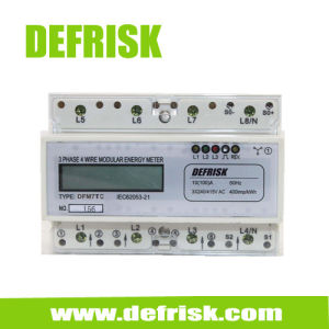 DIN Rail Mounted Three Phase Energy Meter LCD Display 7 Modular