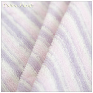China Pink Stripe Long Loop Terry Towel Cloth Fabric For Home Baby