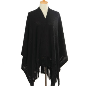 Lady Fashion Acrylic Mohair Knitted Winter Fringe Shawl (YKY4510) pictures & photos