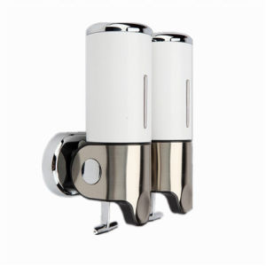 White 500ml*2 Stainless Steel+ABS Plastic Wall-Mountained Liquid Soap Dispenser