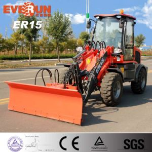 Everun 1.5 Ton Small Front Wheel Loader with V Style Snow Blade pictures & photos