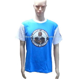Plain Promotional Blue T Shirt with Sublimation Logo pictures & photos