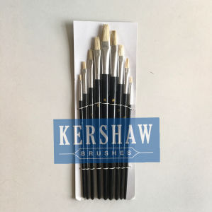 Artist Brush (ARTIST PAINTING BRUSH FLAT HEAD 9-PCS SET, blanch white bristle and wooden handle) pictures & photos