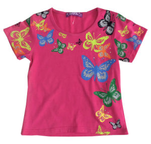 China Whole Sale Butterfly Girl T Shirt Beautiful Kids Clothes Sgt