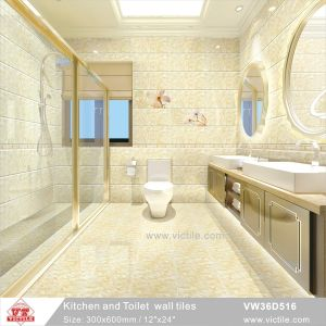 Building Material Ceramic Kitchen Bathroom Ivory Color Wall Tile Vw36d516 300x600mm 12 X24