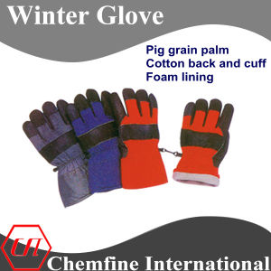 Pig Grain Palm, Cotton Back and Cuff, Foam Lining Leather Winter Glove pictures & photos