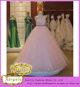 Hot Elegant Pink Tulle Beaded Sequins Ball Gown Strapless Sleeveless Wedding Gown Sample Pictures Yj0031