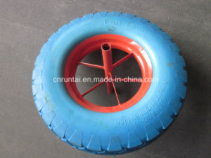 Good Quality Blue PU Ring Red Rim PU Form Wheel (4.00-8) pictures & photos
