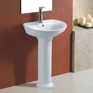 Floor Standing Bathroom Basin Ceramic Pedestal Wash Basin