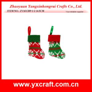 Christmas Decoration (ZY16Y209-1-2 14.5CM) Red Green Kintted Christmas Decorated Socks pictures & photos