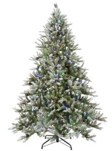 7.5FT LED Pre Lit Snowy Pine Artificial Christmas Tree With Pine Cones And  Multi Color Lights (MY100.094.00)
