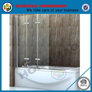 Aluminium Framed Three Folding Bathtub Glass Panels Hinged Shower Screen