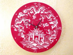 Red Colour Hall Colock Clear Acrylic Wall Clock pictures & photos