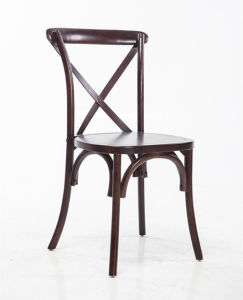Dark Brown X-Back Stackable Chairs